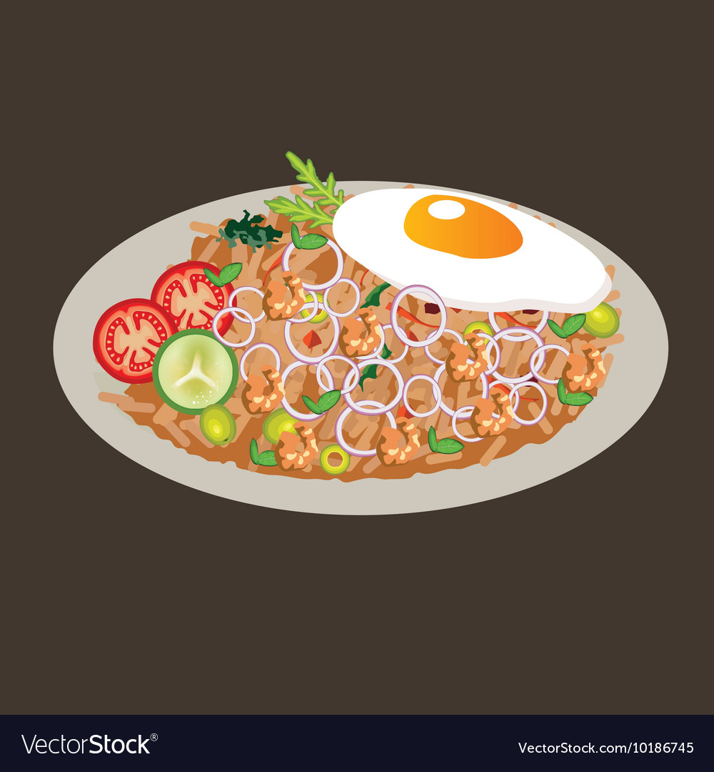 Fried rice drawing cusine food vector image
