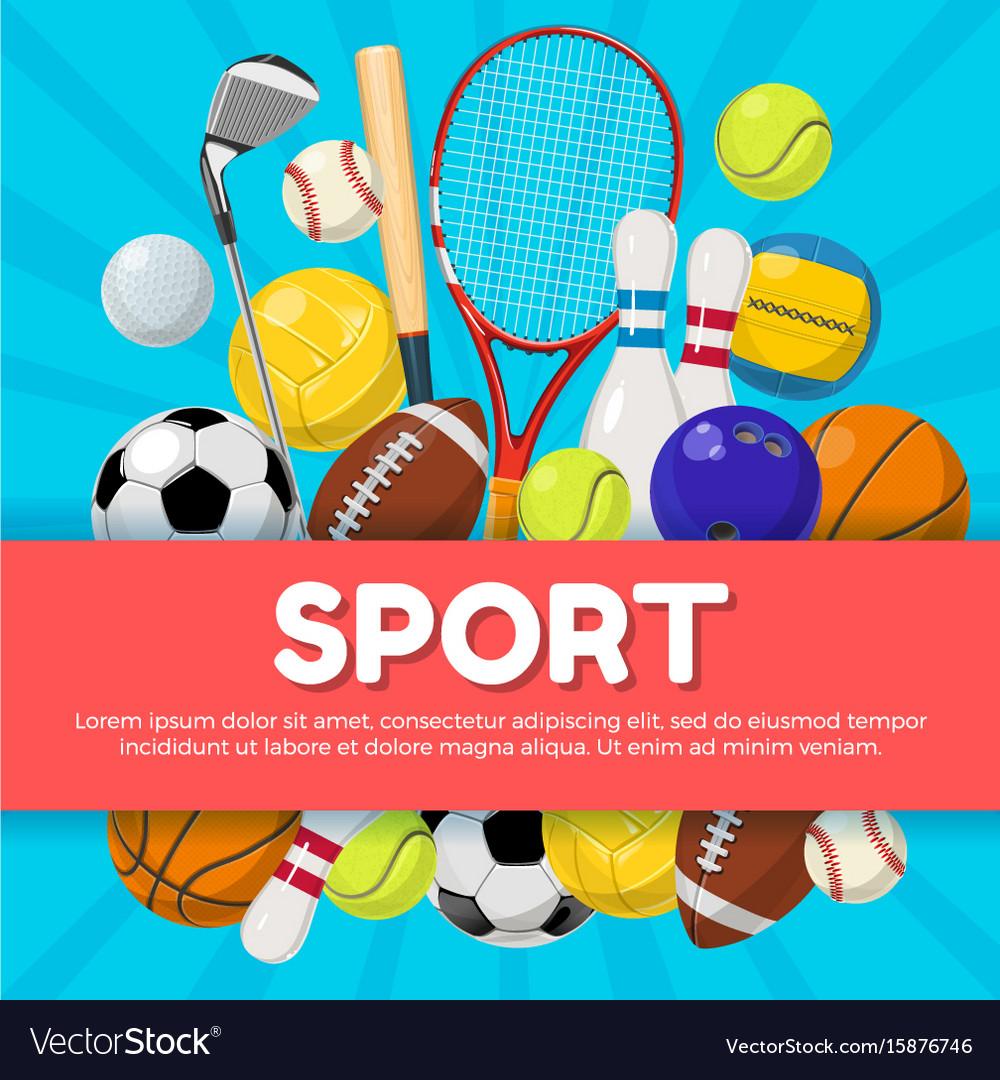 sport poster design of different equipment on vector image. Black Bedroom Furniture Sets. Home Design Ideas