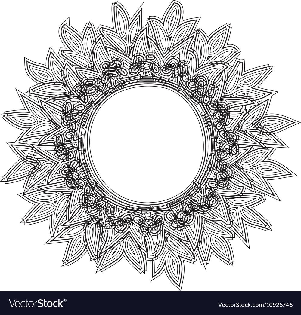 Vintage round frame sun zentagle style vector image