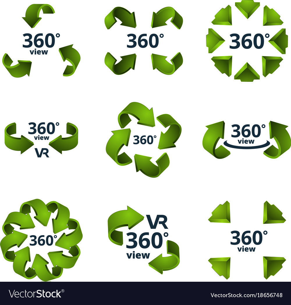 Symbols of virtual reality 360 degrees 3d rotate vector image biocorpaavc Choice Image