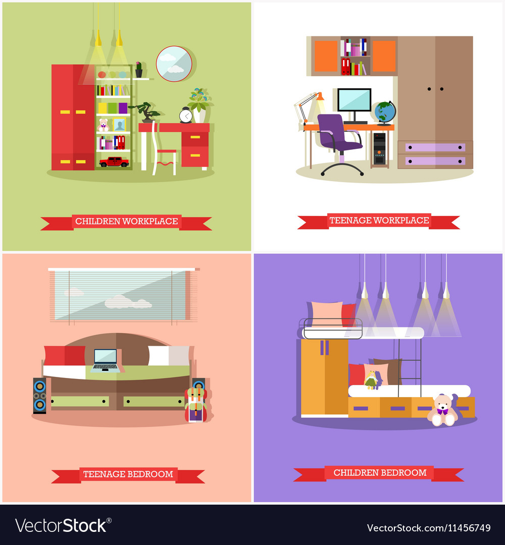 Kids bedroom interior in flat style vector image