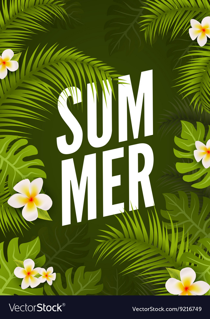 Summer tropic poster design Floral nature jungle vector image