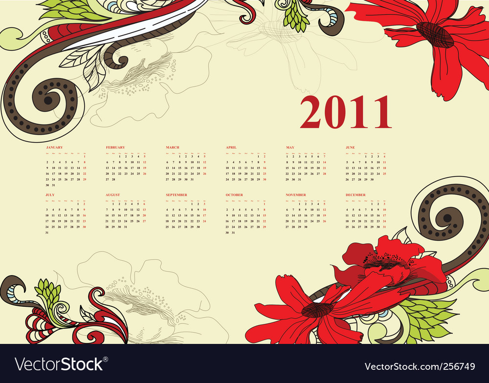 Vintage Calendar For 2011 Vector. Artist: Ateli; File type: Vector EPS