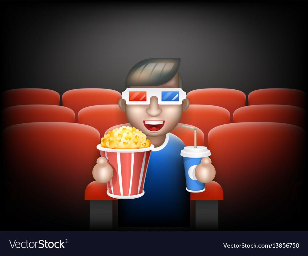 Cinema pall 3d glasses big popcorn soda water male vector image