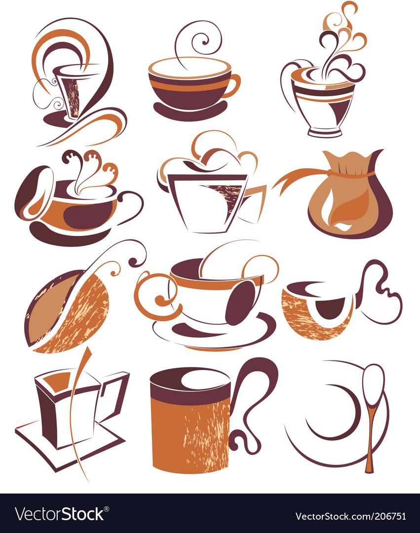 Big set of coffeetea elements vector image