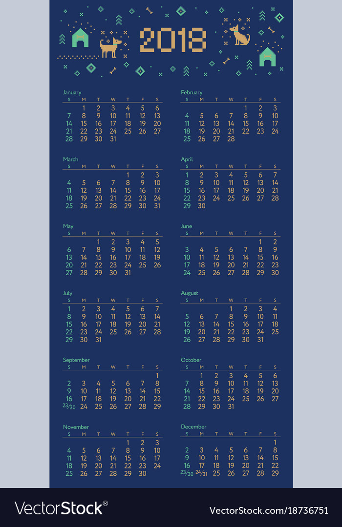 Calendar With Cross Stitch Dog Pixel Art Vectorstock