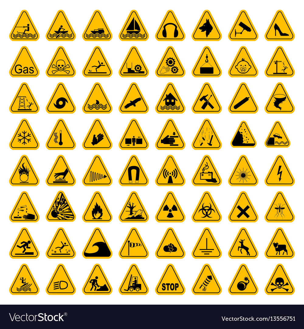 Warning hazard triangle signs set vector image