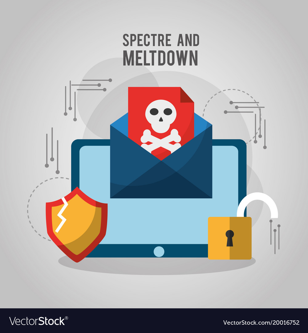Spectre and meltdown email spyware virus attack vector image