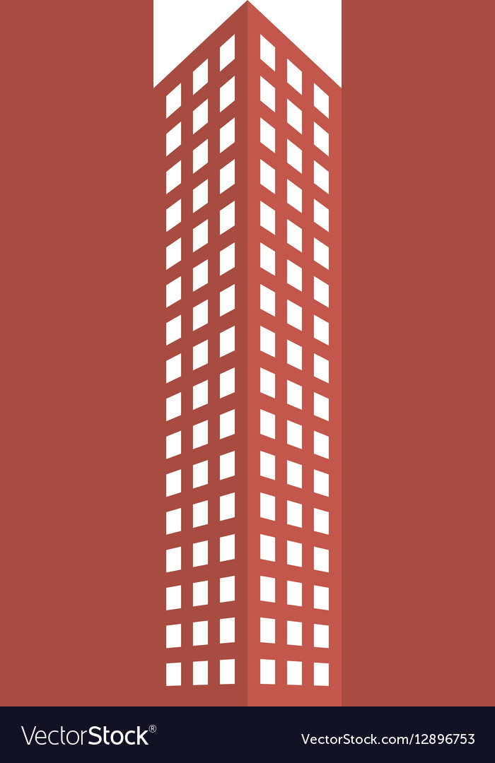 Red city building line sticker image vector image