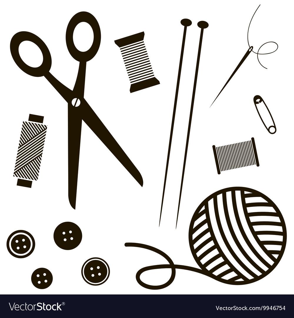 Black sewing and knitting tools vector image