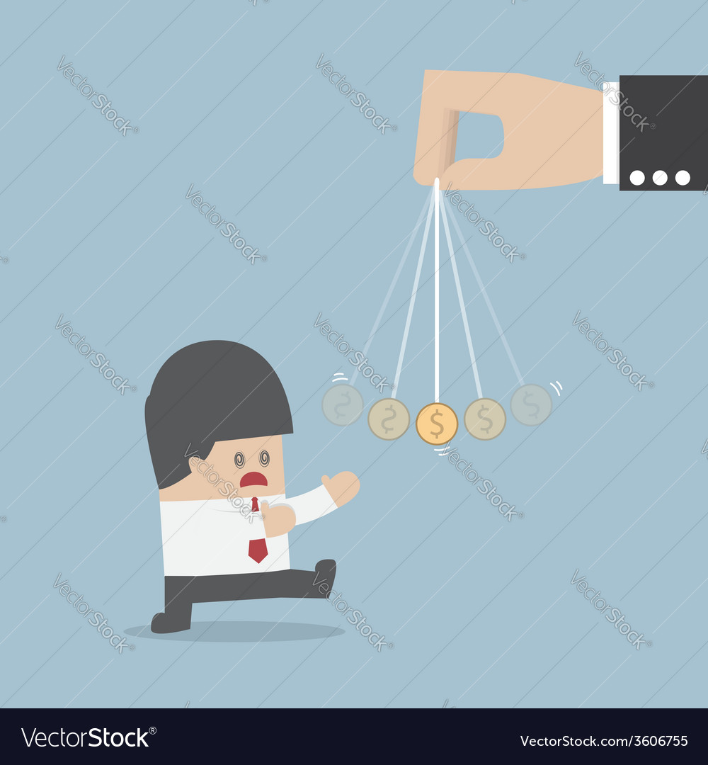 Businessman being hypnotized with a dollar coin vector image