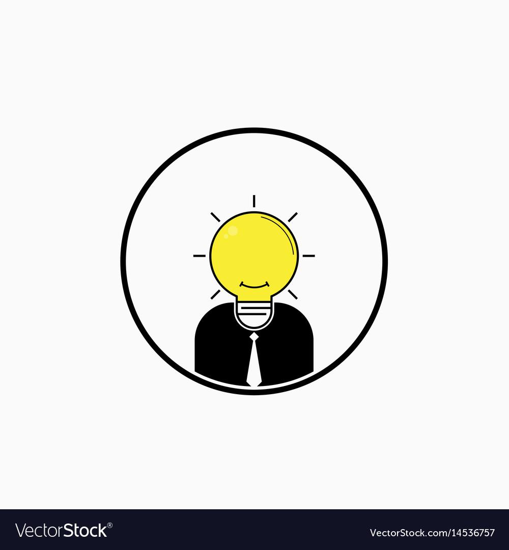 Business man logo with idea light bulb head vector image