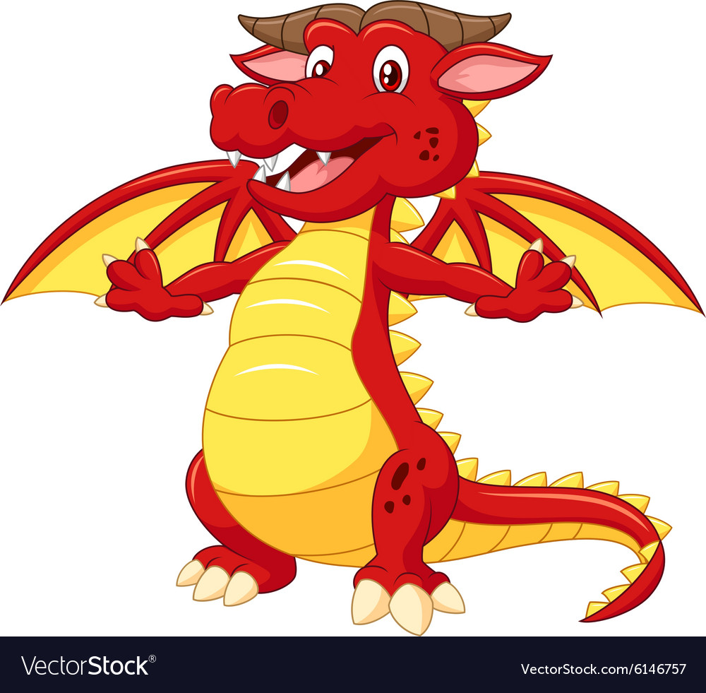 Cartoon adorable dragon on white background vector image