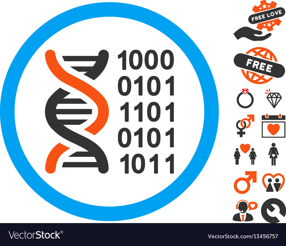Genetical code icon with lovely bonus vector image