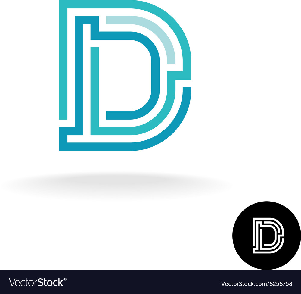 Letter D technical logo Line elements style vector image