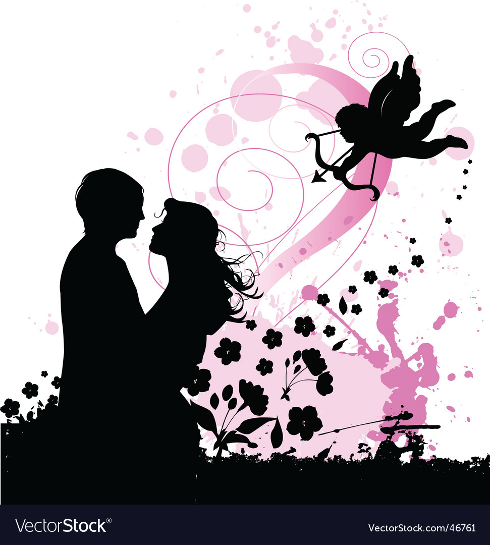Valentines background with cupid vector image