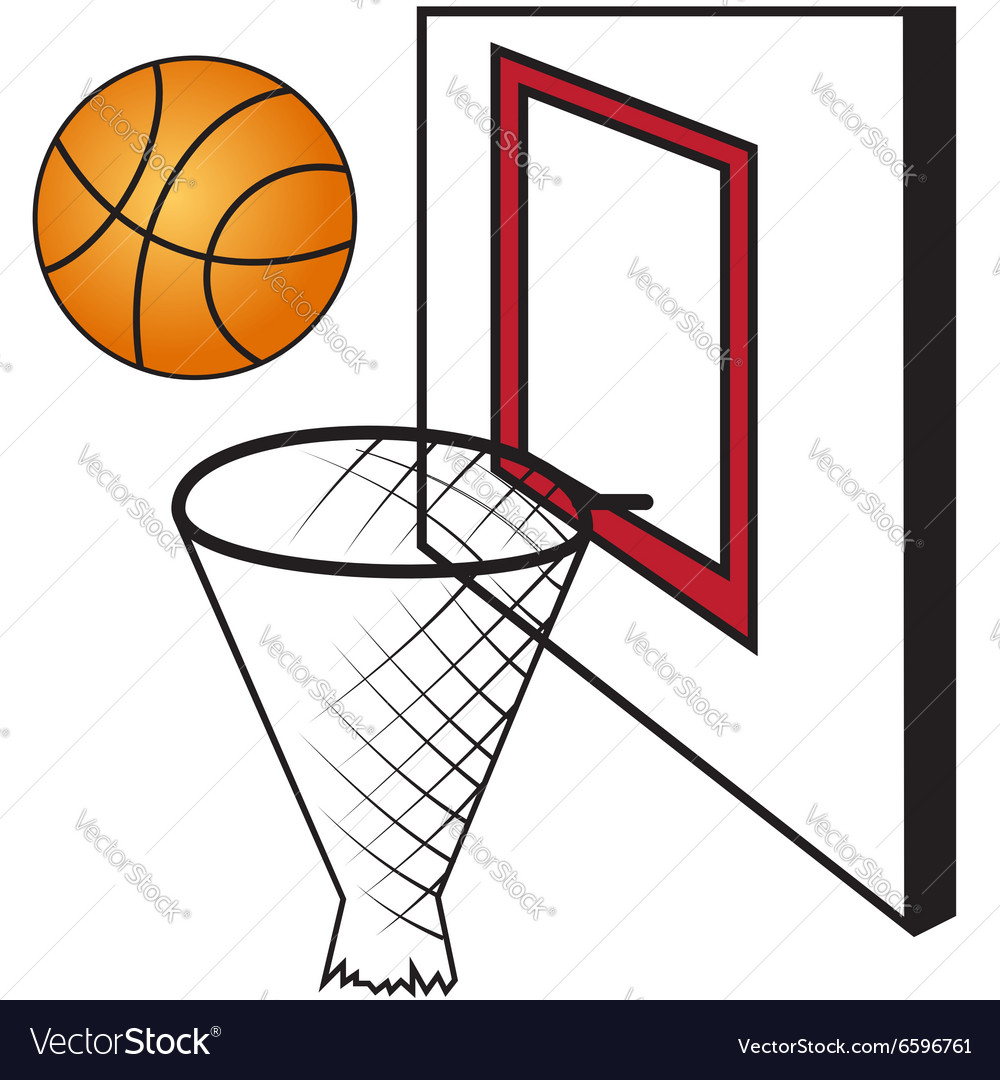 Basketball board with a basket and a ball vector image