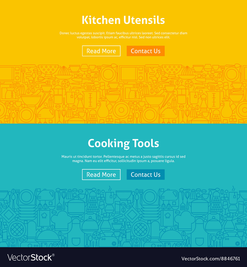 Kitchen and Cooking Line Art Web Banners Set vector image