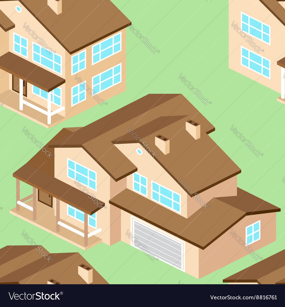 Seamless pattern with Isometric suburban american vector image