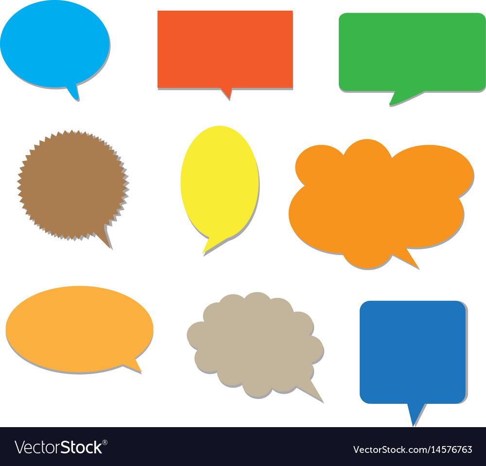 Blank empty colors speech bubbles vector image