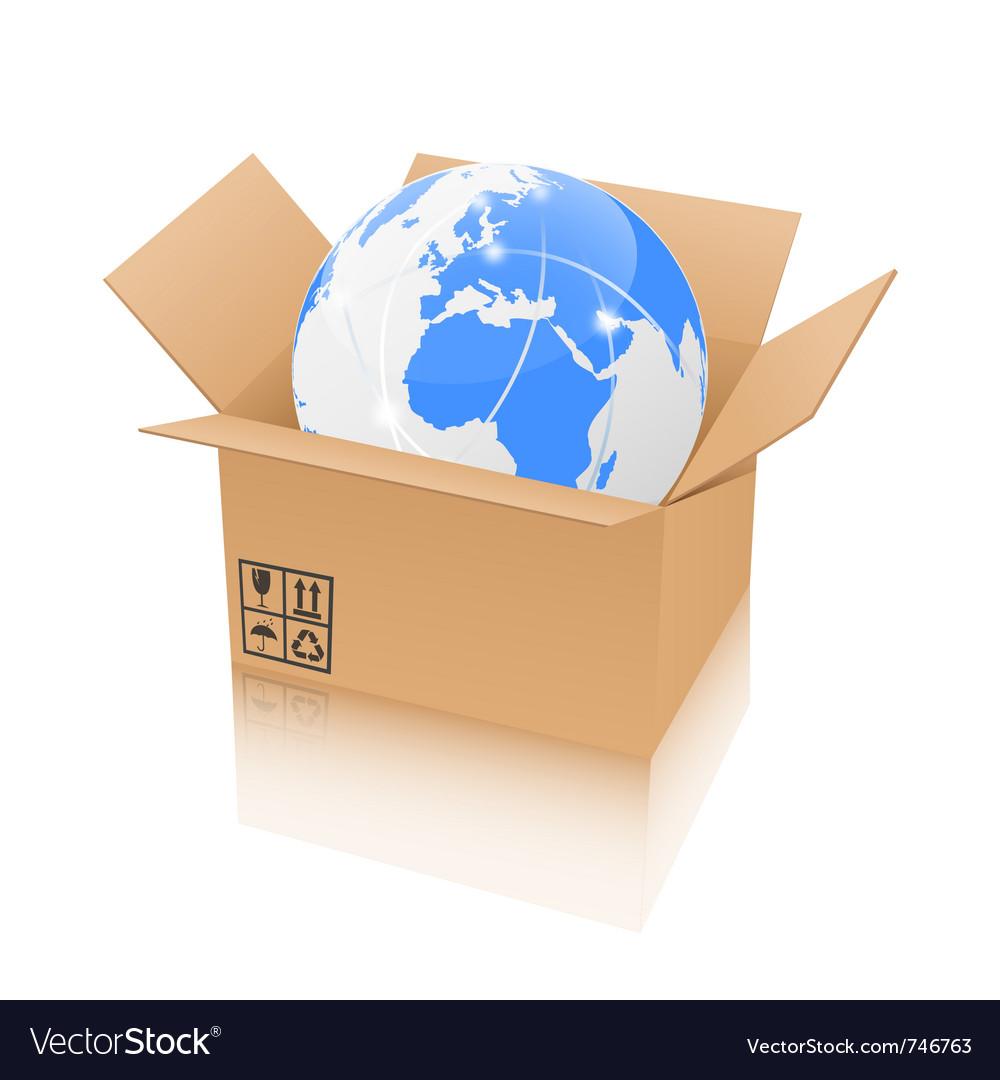 Earth in an open cardboard box vector image