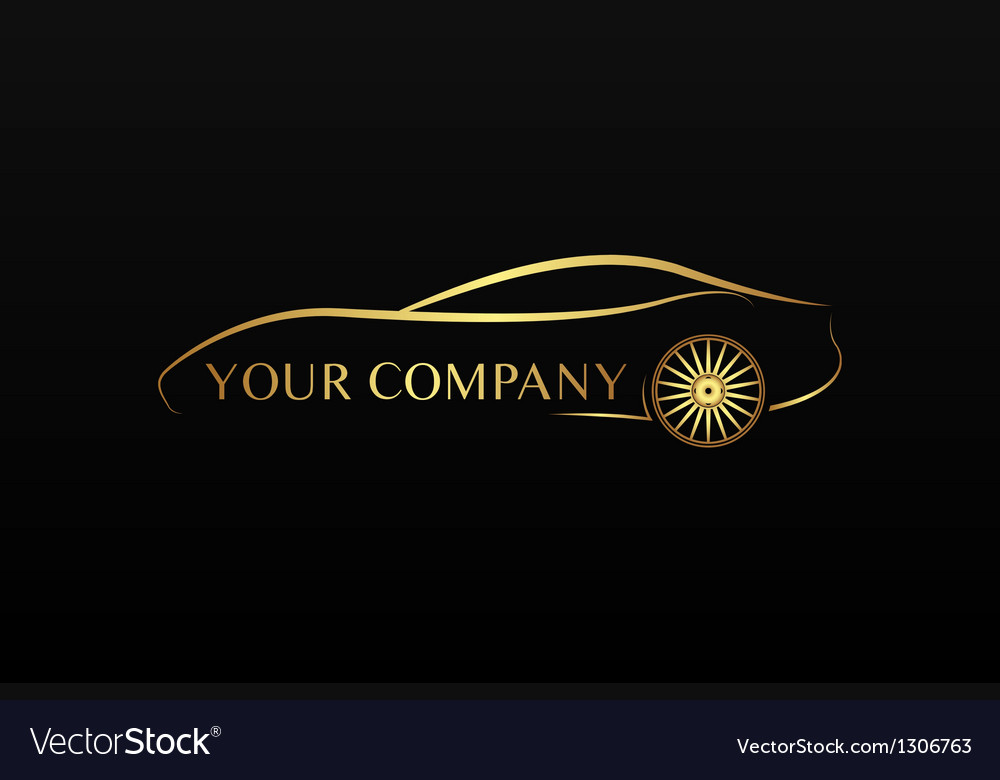Golden car logo vector image