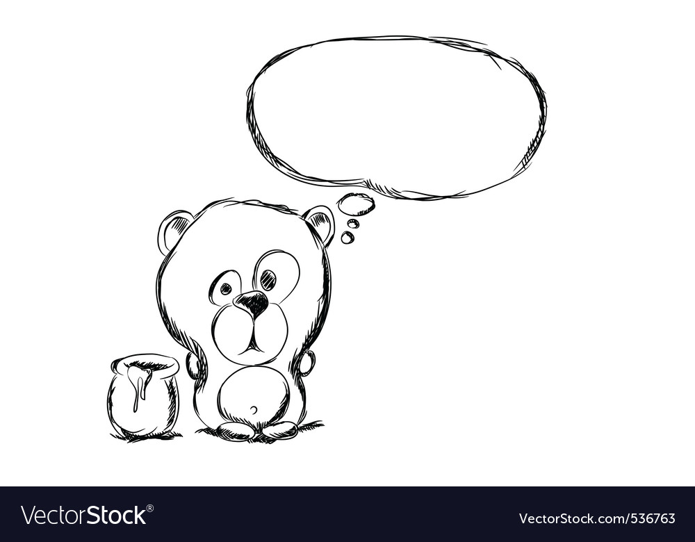Hand draw bear vector image