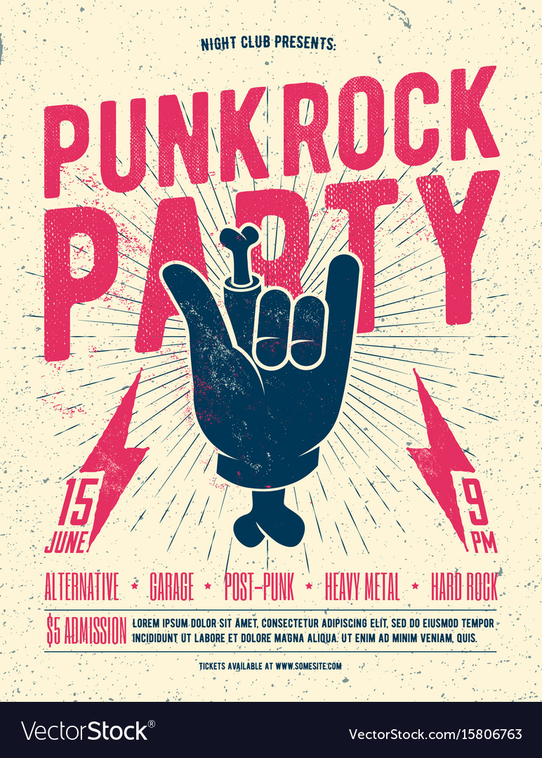 Punk rock party flyer poster vector image