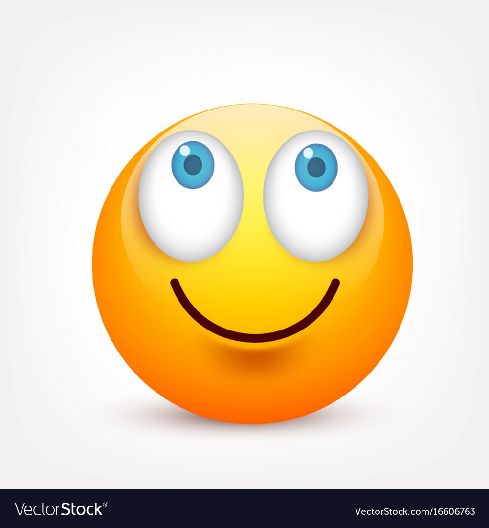 Smiley with blue eyesemoticon yellow face with vector image