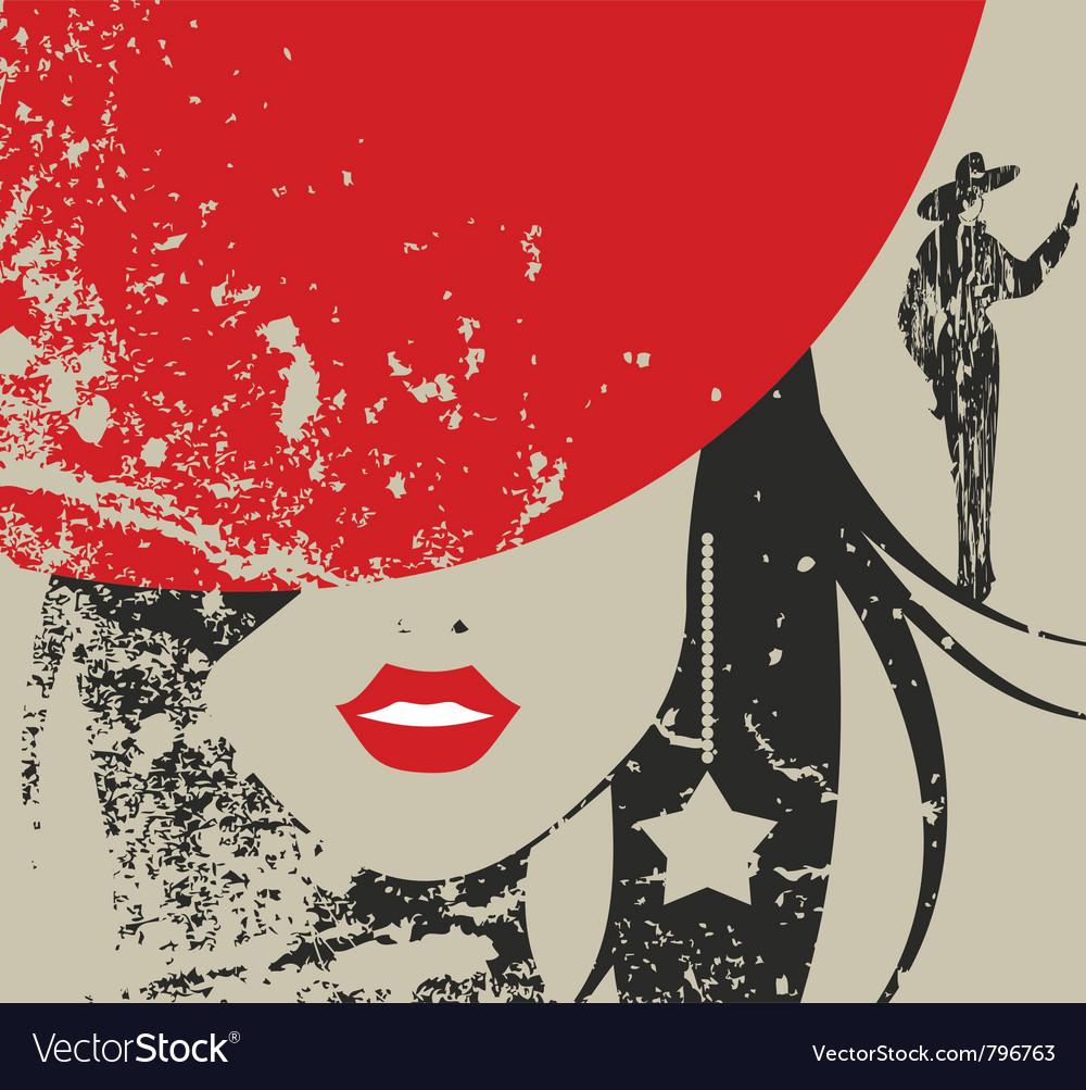 Stylish fashion face vector image