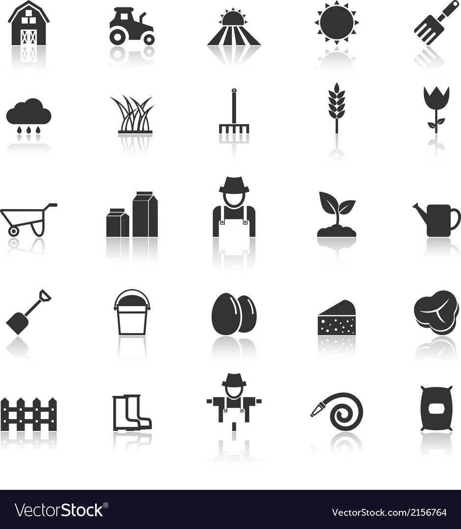 Farming icons with reflect on white background vector image