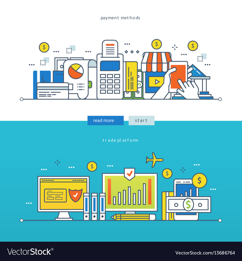 Trading platform methods of payment for goods vector image