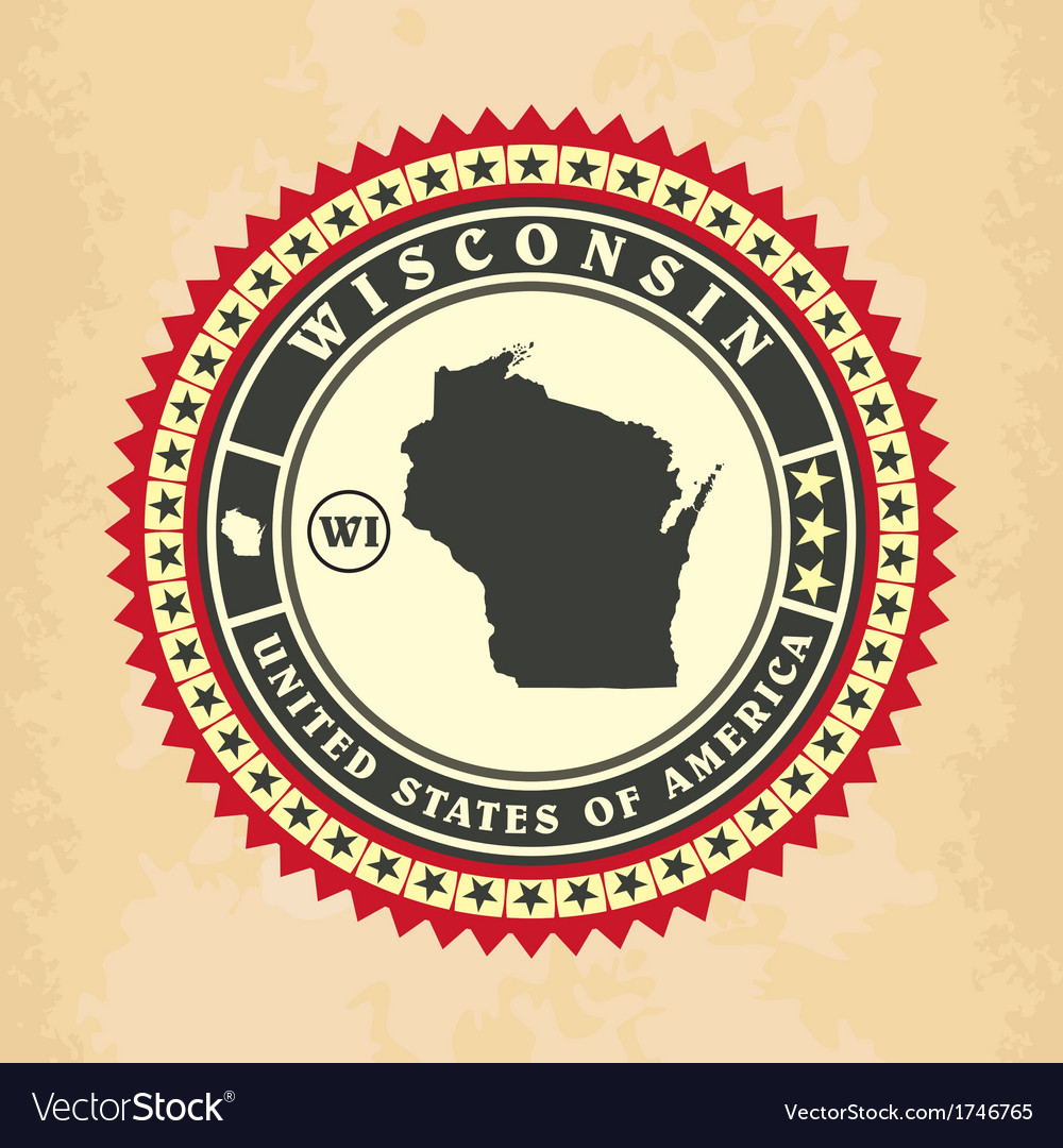 Vintage label-sticker cards of Wisconsin vector image