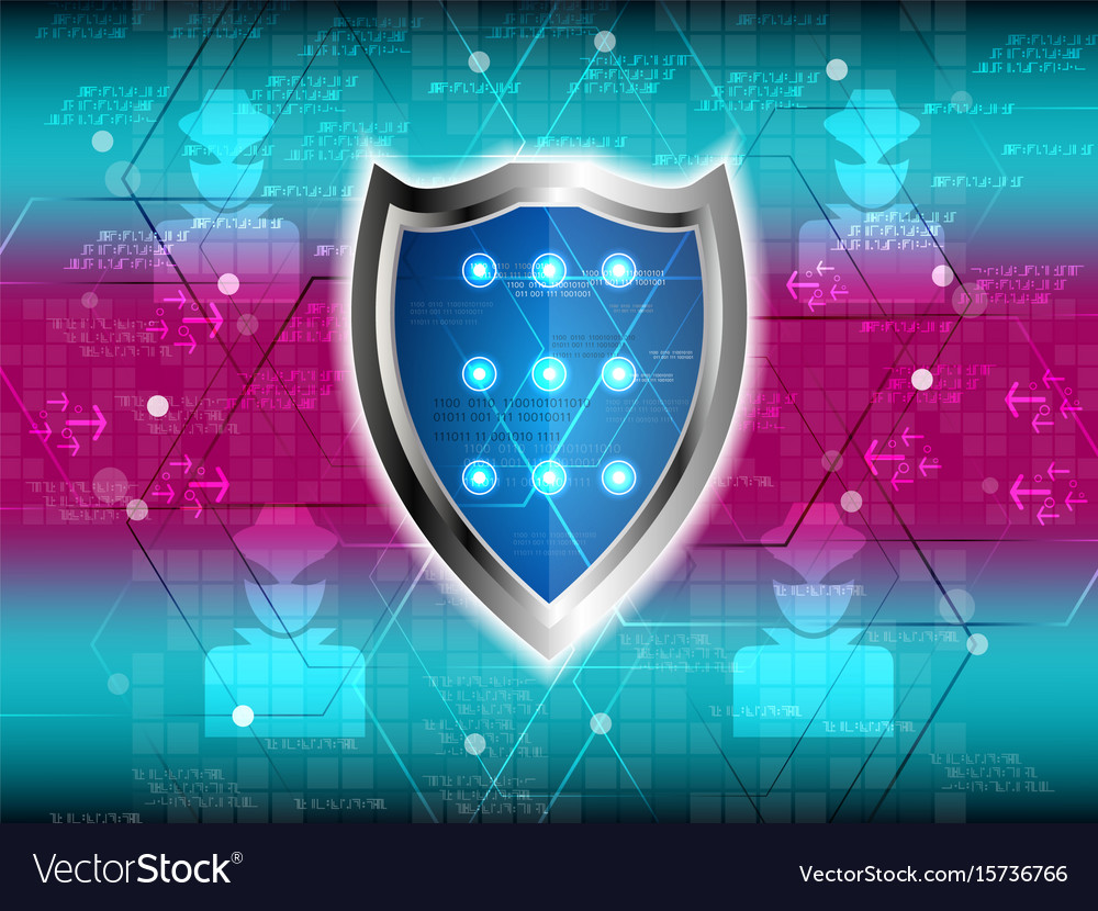 Cyber security shield guard vector image