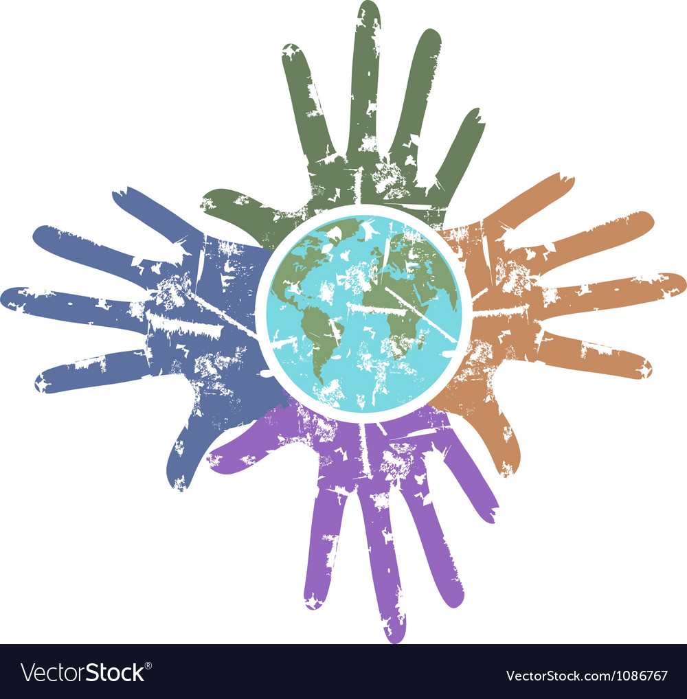 Grungy hands around the earth vector image