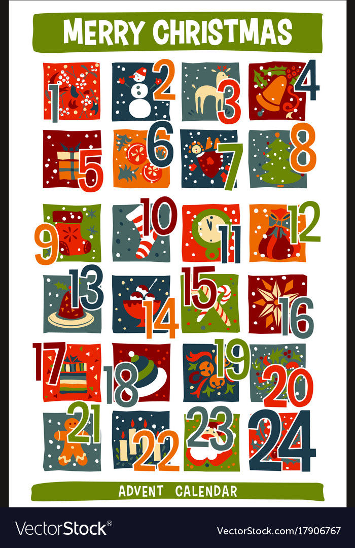 Christmas Calendar Pictures : Cartoon christmas advent calendar with funny icons