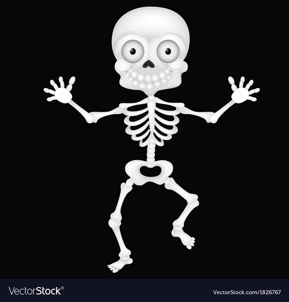 Funny skeleton cartoon vector image