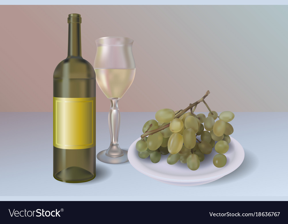 White wine background wine bottle with vector image