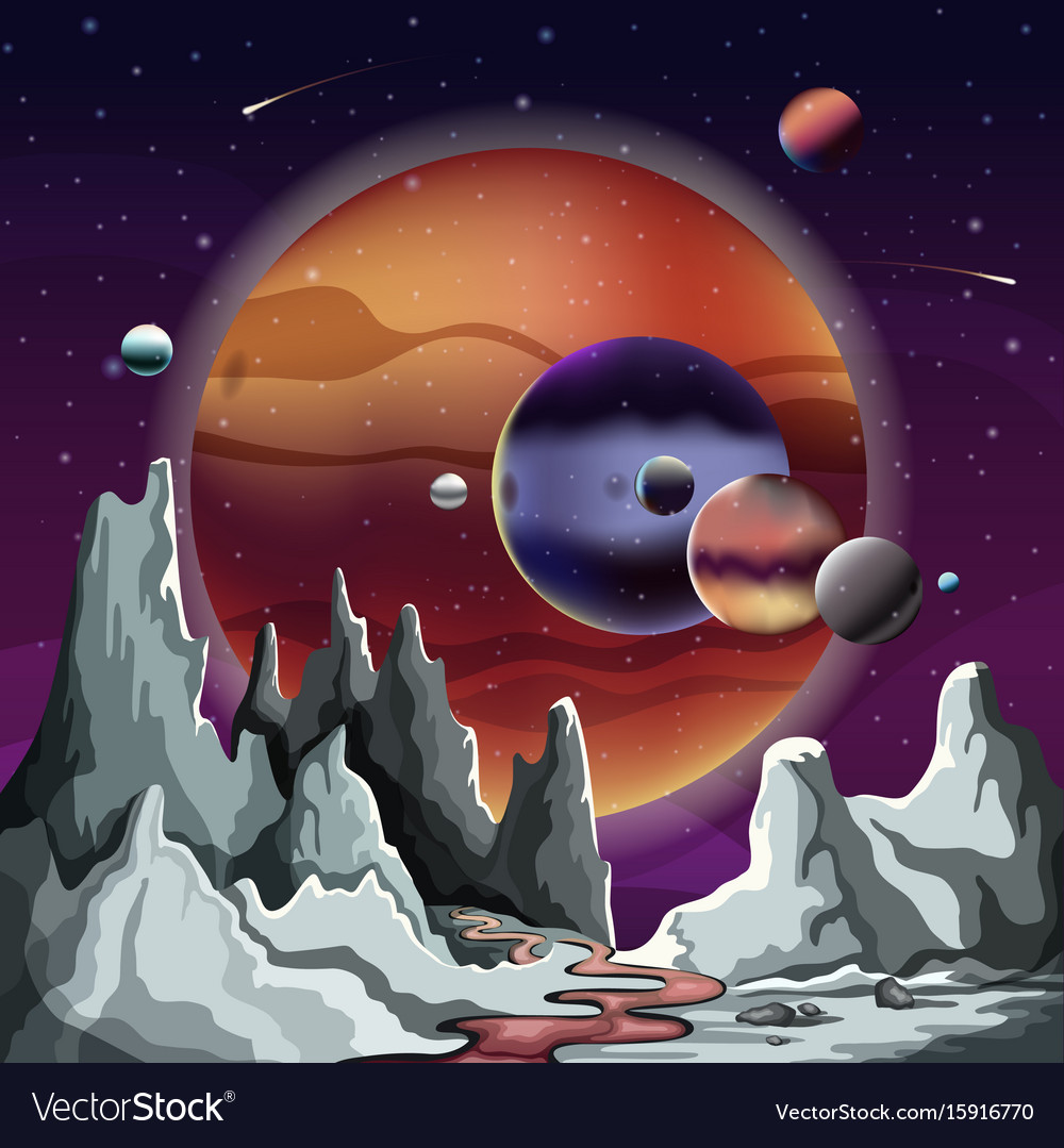 Astronomical planet panorama with terrain and sky vector image