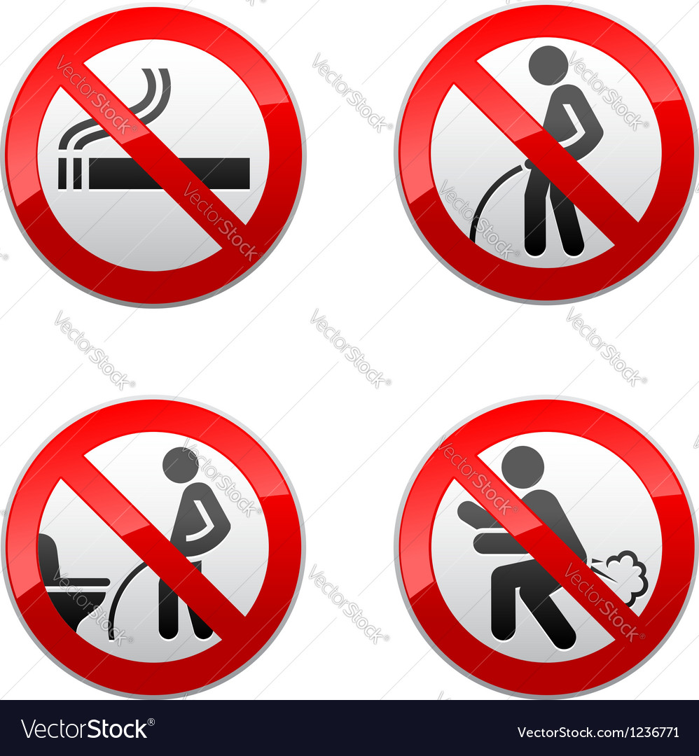 Set prohibited signs - Toilet stickers vector image