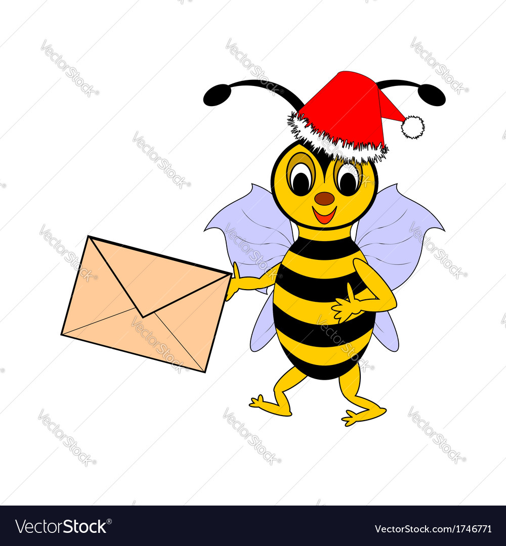 A funny Christmas cartoon bee with a letter vector image