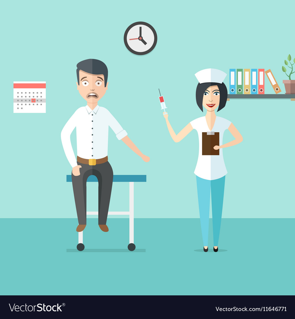 Friendly woman doctor or nurse with syringe in her vector image