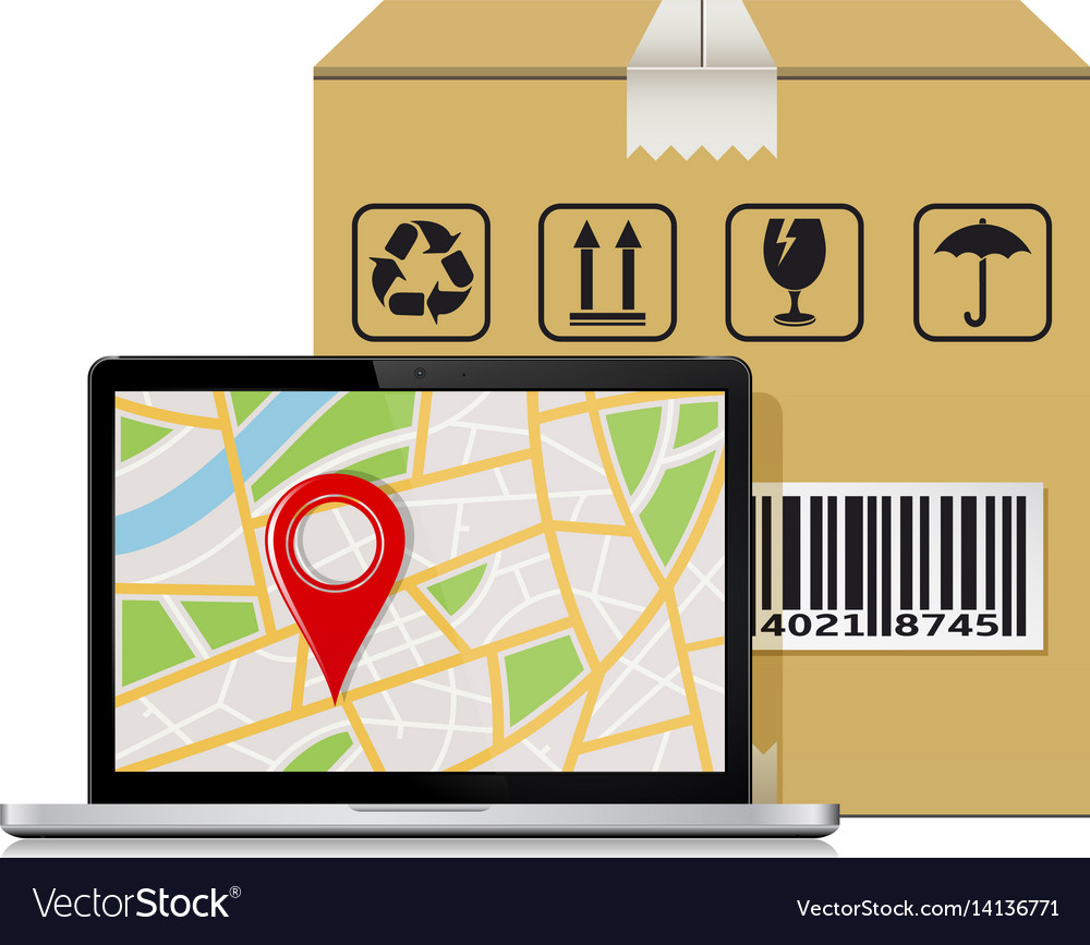 Parcel box and laptop with gps map mock-up for vector image