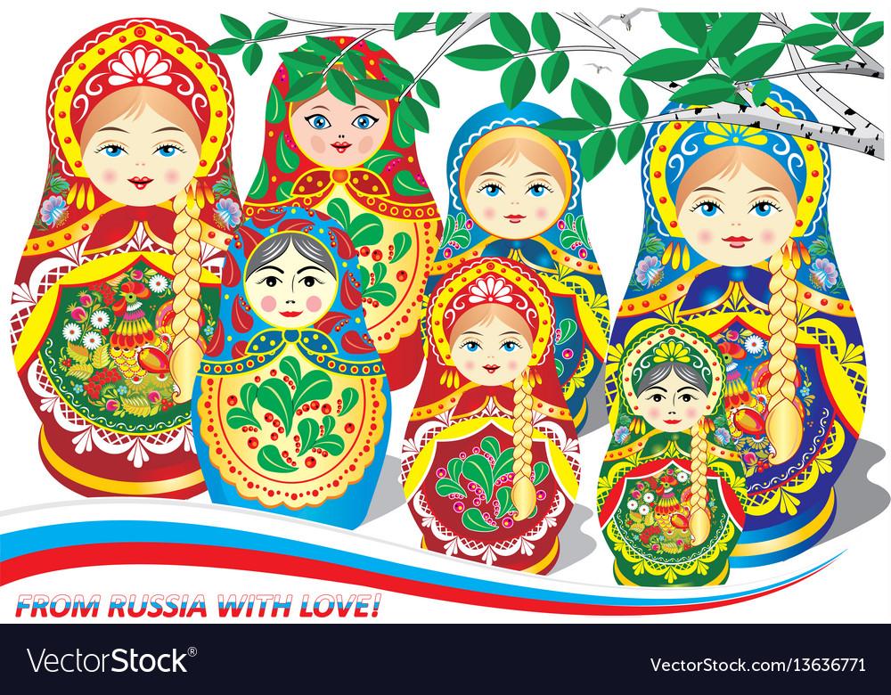 Russian nesting dolls vector image