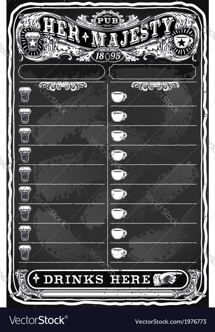 Vintage Hand Drawn Board for Pub Menu vector image