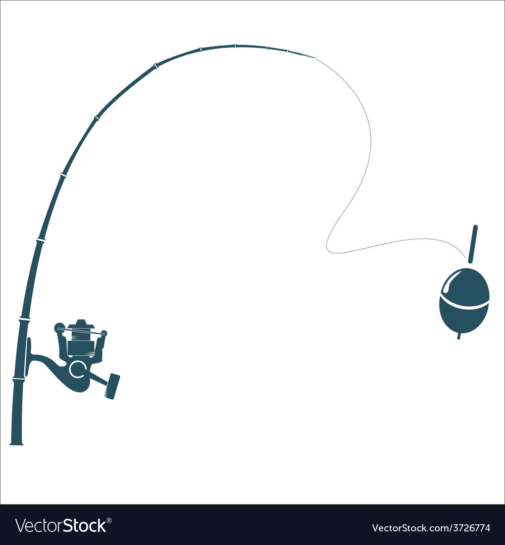 Fishing rod on the white backdrop vector image