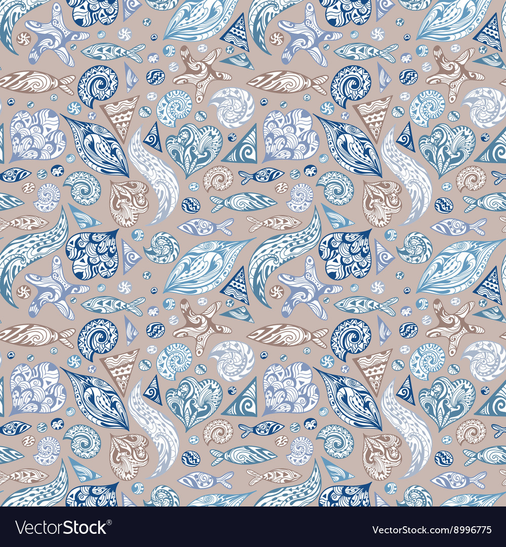 Sea Life Vintage Pattern vector image