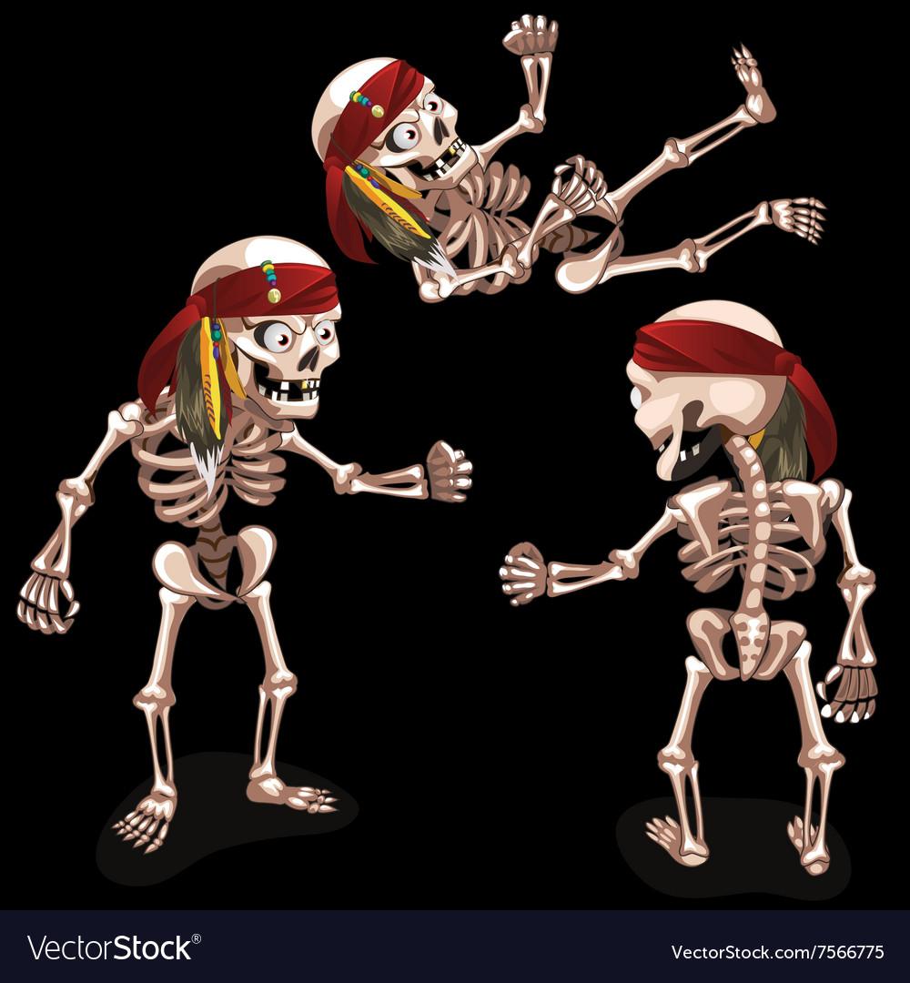 Set of three evil pirates skeletons vector image