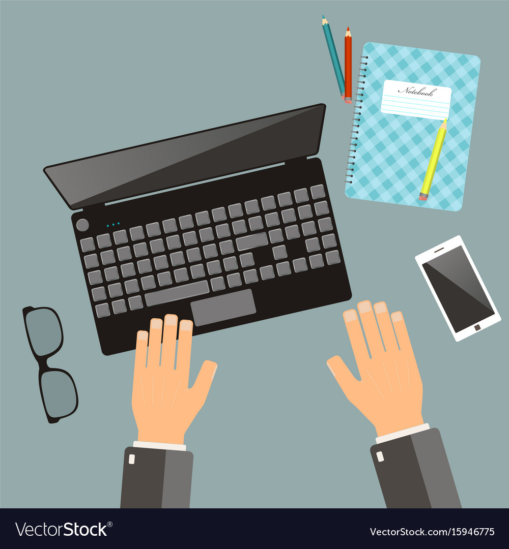 Workplace concept top view hands laptop vector image
