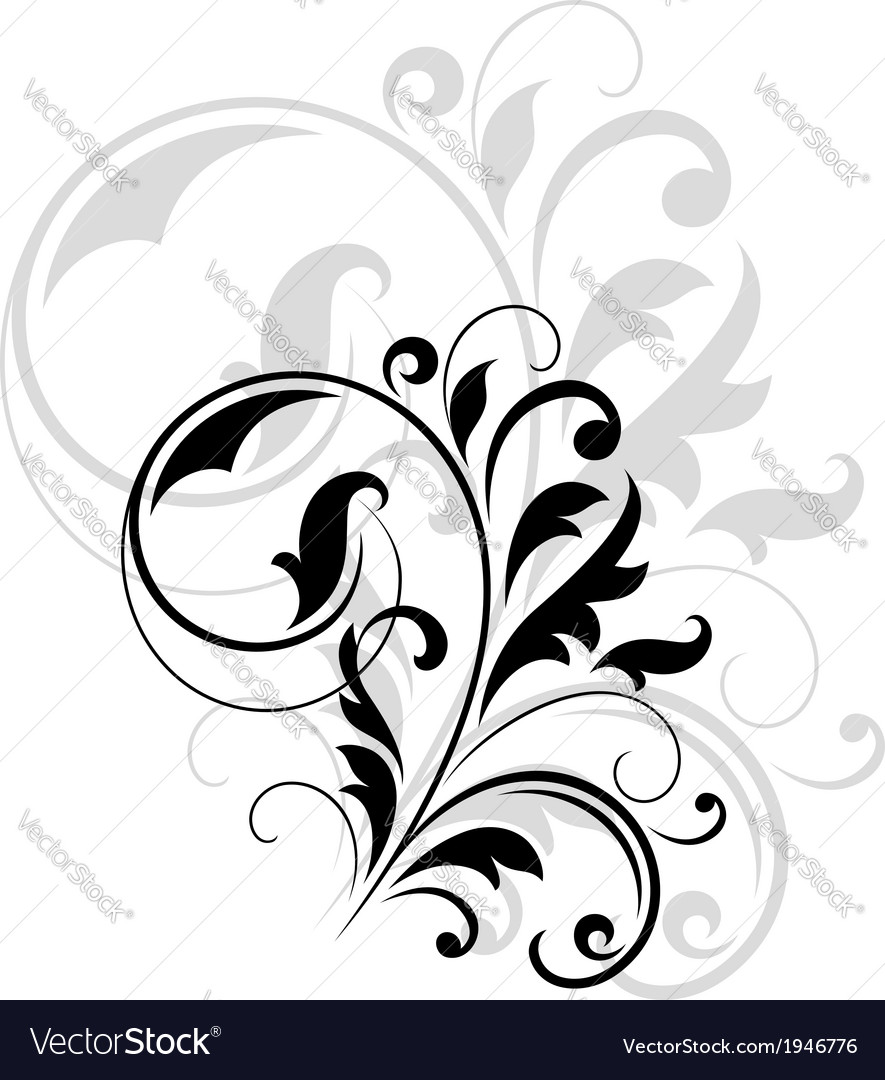 Decorative floral motif vector image